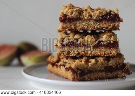 Home Baked Fig Crumble Bars Made Of Fresh Figs And Whole Wheat Flour