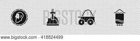 Set Ancient Coin, Sword The Stone, Wooden Four-wheel Cart And Medieval Flag Icon. Vector