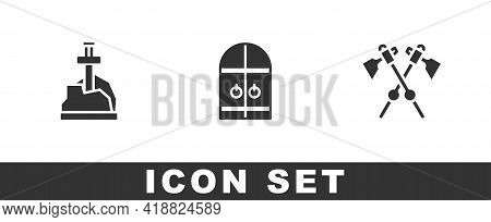 Set Sword In The Stone, Medieval Castle Gate And Crossed Medieval Axes Icon. Vector