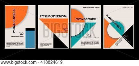 Artworks, Posters Inspired Postmodern Of Vector Abstract Dynamic Symbols With Bold Geometric Shapes,
