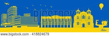 Vector City Skyline Silhouette - Illustration,  Town In Blue Background,  Kiev Ukraine