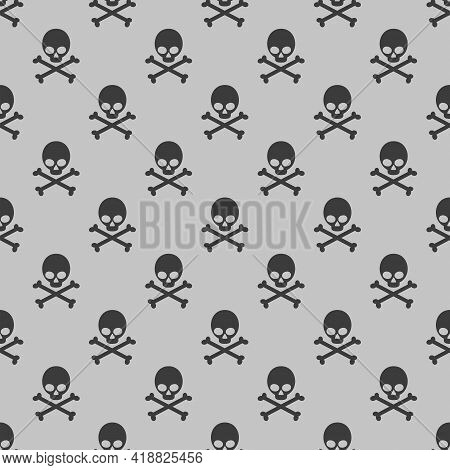 Seamless Pattern With Skulls And Bones On A Gray Background. Illustration For A Cover, A Poster Or A