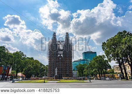 Scene Of Saigon Notre-dame Basilica During Restoration And Empty Street, Ho Chi Minh City, Vietnam -