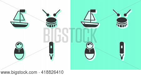 Set Marker Pen, Toy Boat, Tumbler Doll Toy And Drum With Drum Sticks Icon. Vector