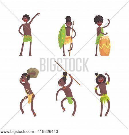 African People Characters Dancing Folk Or Ritual Dance Vector Set