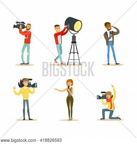 News Program Crew Of Professional Cameramen And Journalists Creating Tv Broadcast Of Live Television