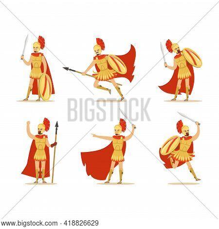 Gladiator Or Swordsman As Roman Armed Combatant Vector Set