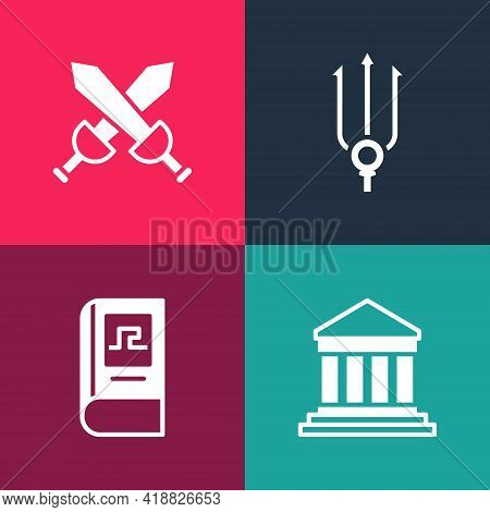 Set Pop Art Parthenon, Greek History Book, Neptune Trident And Crossed Medieval Sword Icon. Vector