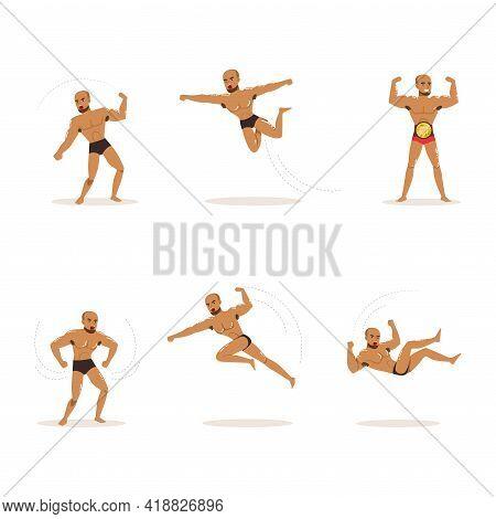 Freestyle Wrestling Fighter In Black Underwear Engaged In Violent Fight Vector Set