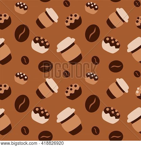Coffee Take Away Seamless Pattern With Cup Of Coffee To Go, Cupcakes And Coffee Beans Hand Drawn Sim