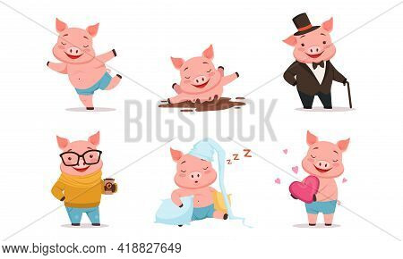 Funny Pig Drinking Coffee, Splashing In Mud And Sleeping On Pillow Vector Set