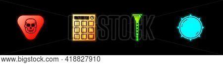 Set Guitar Pick, Drum Machine, Clarinet And Dial Knob Level Icon. Vector