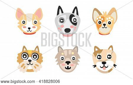 Different Dog Muzzle And Heads With Pointed Ears Vector Set