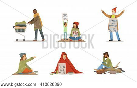 Homeless People Characters Living On The Streets Looking Hungry And Dirty Vector Set.