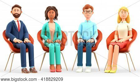 3d Illustration Of Business Team Meeting. Happy Multicultural People Characters With Their Hands On