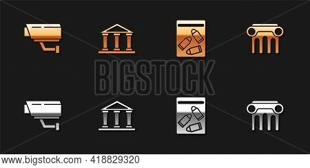 Set Security Camera, Courthouse Building, Evidence Bag And Bullet And Law Pillar Icon. Vector