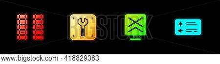 Set Railway, Railroad Track, Repair Of Railway, Railroad Crossing And Road Traffic Signpost Icon. Ve