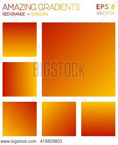 Colorful Gradients In Red Orange, Sunglow Color Tones. Actual Background, Outstanding Vector Illustr
