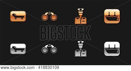 Set Sunbed And Umbrella, Binoculars, Captain Of Ship And Lifeboat Icon. Vector