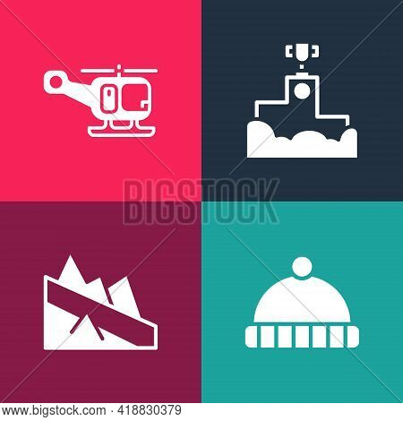 Set Pop Art Winter Hat, Mountain Descent, Award Winner Podium And Rescue Helicopter Icon. Vector