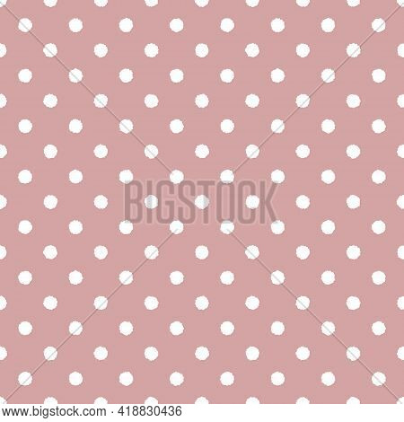 Dusty Pink And White Seamless Polka Dot Pattern, Vector Illustration. Seamless Pattern With White Ro