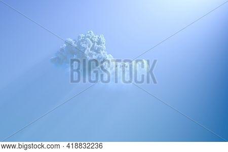 One Cumulus Cloud With Sun Beams . Concept Nature 3d Illustration