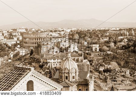 Aerial Panorama Of Roman Forum Ruins And Colosseum In Sepia, Rome, Italy