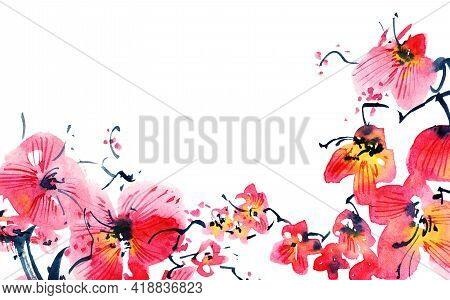 Watercolor Illustration Of Blossom Sakura Tree With Flowers And Buds. Oriental Traditional Painting