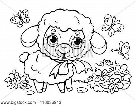 Coloring Book For Children. Cute Little Lamb Surrounded By Butterflies. Farm Animal. Vector Illustra