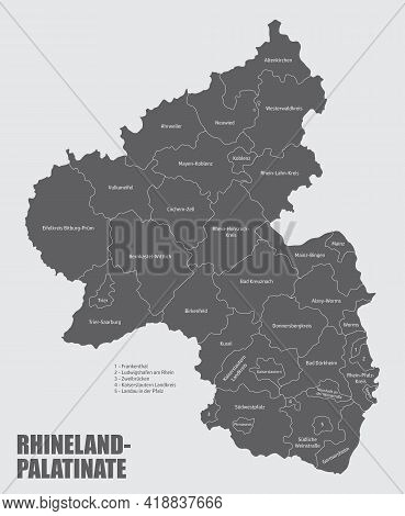 The Rhineland-palatinate State, Isolated Map Divided In Districts With Labels, Germany