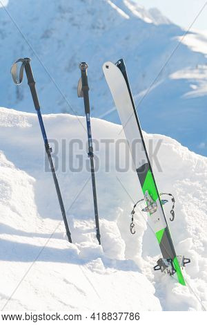 Kasprowy Wierch, Poland 28.01.2021 - Closeup Of Ski-boards And Ski Poles On A Snow-covered Landscape