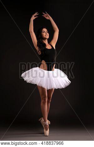 Pretty Ballerina In Tutu Stand On Pointess