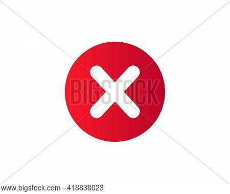 Cross Mark Icon. Deny, Close, Wrong Mark Symbol. Negative Check Mark Logo Flat Icon