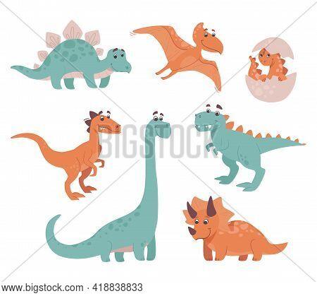 Funny Dinosaurs. Stegosaurus, Triceratops, Brachiosaurus, Brontosaurus, Velociraptor, Pteranodon, Ty