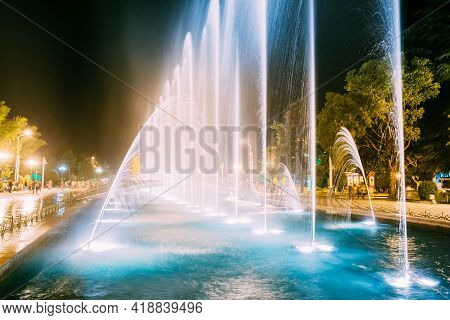 Batumi, Adjara, Georgia. Singing And Dancing Fountains Is Local Landmark At Boulevard Fountains. Nig