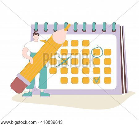 Male Character Circle Date On Huge Calendar Planning Important Matter. Time Management, Work Organiz