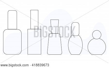 Set Of Nail Polishes In The Style Lineart, Nail Polish Tube, Isolated Simple Vector Icon For Manicur