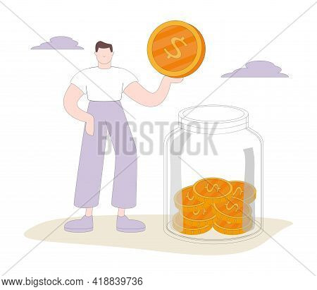 Tiny Male Character Collect Golden Coins Into Huge Glass Jar. Woman Make Savings, Collecting Money I