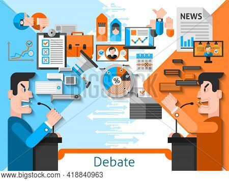 Elections And Voting Flat Color Composition With Public Debates Of Candidates In Foreground And Medi