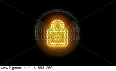 Lock. Lock Icon. Nixie Tube Indicator. Gas Discharge Indicators And Lamps. 3d. 3d Rendering