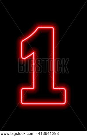 Neon Red Number 1 On Black Background. Learning Numbers, Serial Number, Price, Place. Vector Illustr