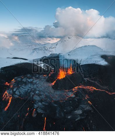 Aerial Panorama Of Active Lava River Flows From A Volcanic Eruption In Mount Fagradalsfjall Geldinga