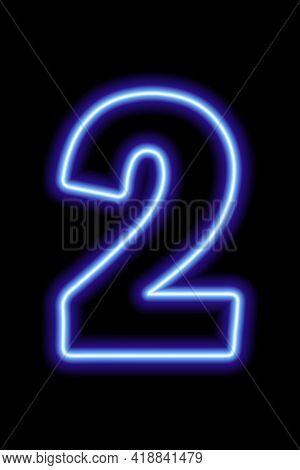 Neon Blue Number 2 On Black Background. Learning Numbers, Serial Number, Price, Place. Vector Illust