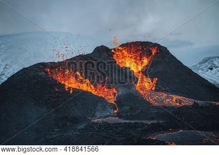 Iceland Volcanic Eruption 2021. The Volcano Fagradalsfjall Is Located In The Valley Geldingadalir Cl