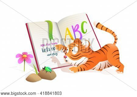 Cute Baby Little Tiger Reading Studying Abc Book, Studying And Playing. Fun Educational Illustration