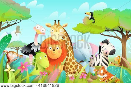 Wild Exotic Baby Animals In African Jungle Or Savanna With Trees And Leaves Background. Cute Colorfu