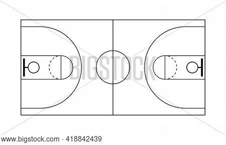 Isolated Basketball Court. Sport Field - Vector Illustration