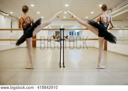 Elegant teen ballerinas, stretching at the barre