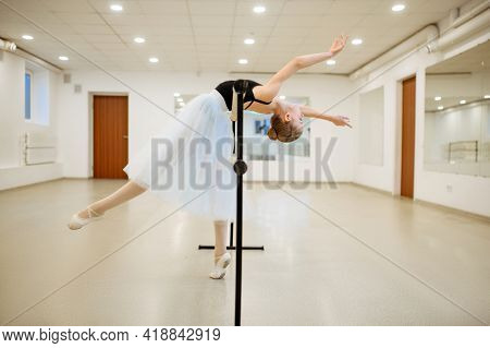 Elegant young ballerina rehearsing at the barre