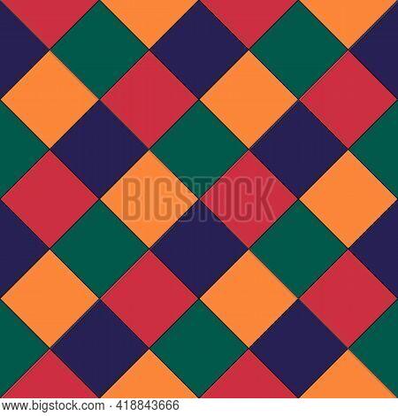 Diamonds, Rhombuses Seamless Pattern. Tiles, Squares, Checks Backdrop. Folk Ornament. Ethnic Ornate.